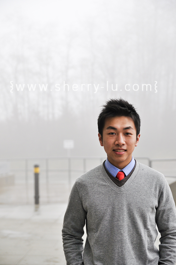 burnaby portrait photographer, photograph of ben lee at SFU on a foggy day