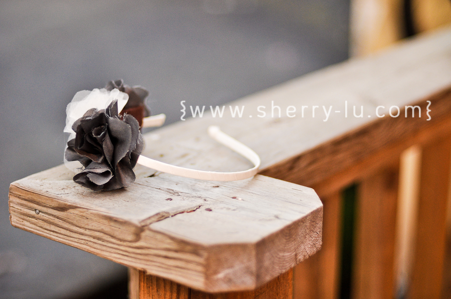 homemade diy flower headband using grey silk and cream tulle