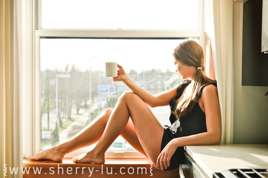 vancouver portrait photographer, girl in window sill with back light