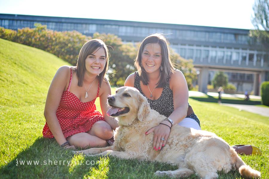 burnaby portrait photographer, vancouver portrait photographer, photo of sisters with golden retriever, simon fraser university burnaby campus portraits