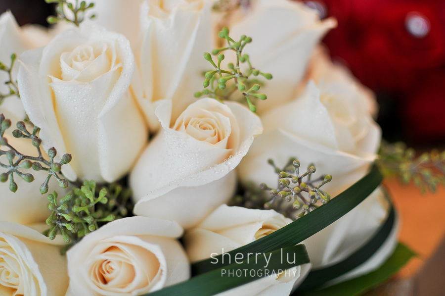 white rose bouquet for a bridesmaid